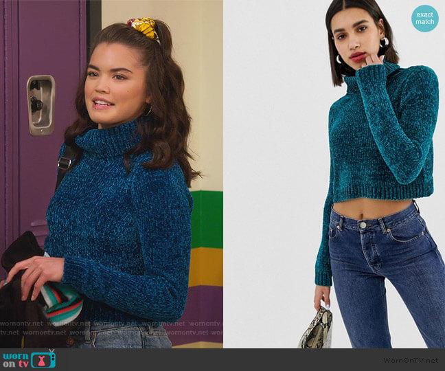 crop sweater with high neck in chenille by ASOS worn by Alexa Mendoza (Paris Berelc) on Alexa & Katie