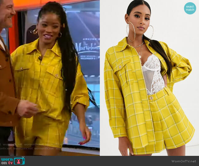 Check Suit Shacket by Asos worn by Keke Palmer  on Good Morning America