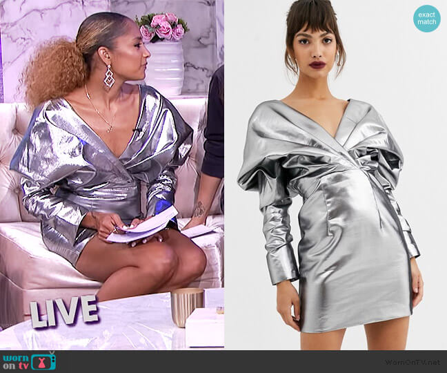 Extreme Shoulder Metallic Cocktail Dress by ASOS worn by Amanda Seales  on The Real