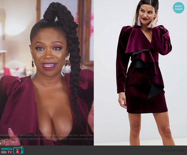 Velvet Mini Cocktail Dress by ASOS worn by Kandi Burruss  on The Real Housewives of Atlanta