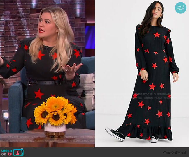 Ruffle Shoulder Maxi Dress in Star Print by Nobodys Child at ASOS worn by Kelly Clarkson  on The Kelly Clarkson Show