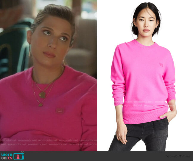 Nalon Face Sweater by Acne Studios worn by Nomi Segal (Emily Arlook) on Grown-ish