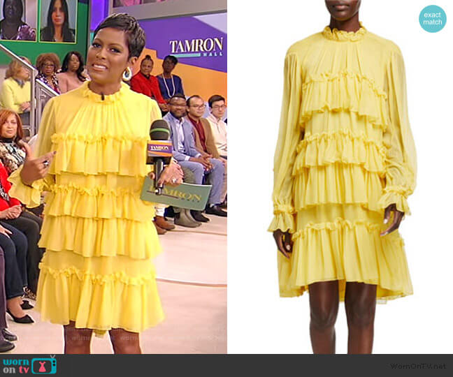 Tiered Ruffle Silk Chiffon Dress by Adam Lippes worn by Tamron Hall  on Tamron Hall Show