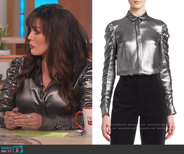 Metallic Ruched Sleeve Blouse by Akris Punto worn by Marie Osmond  on The Talk