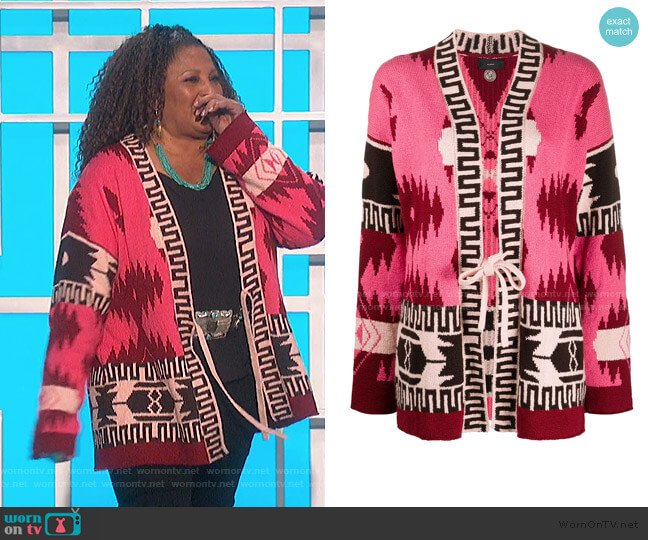 Aztec Pattern Cardigan by Alanui worn by Pam Grier on The Talk