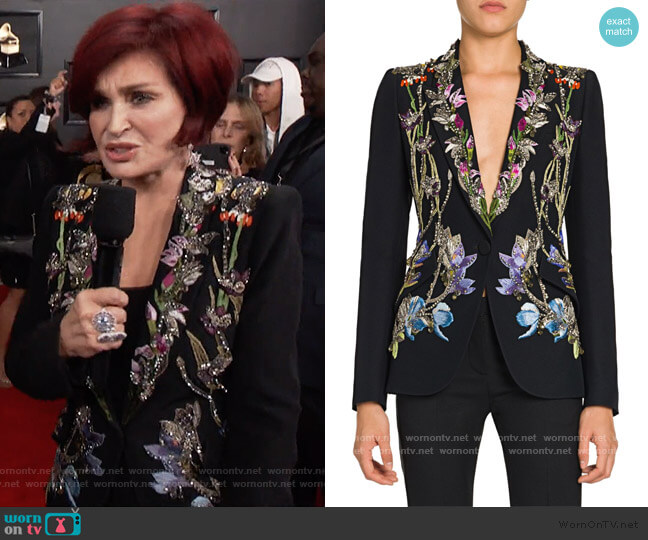 Crystal-Embellished Floral Embroidered Blazer by Alexander McQueen worn by Sharon Osbourne  on The Talk