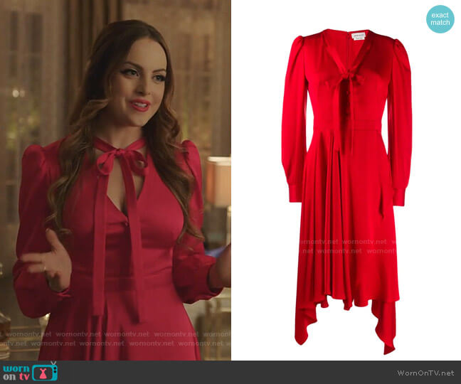 Draped Asymmetric Dress by Alexander Mcqueen worn by Fallon Carrington (Elizabeth Gillies) on Dynasty