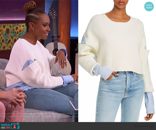 Ribbed Bilayer Cropped Pullover by Alexander Wang worn by Ryan Bathe on The Kelly Clarkson Show