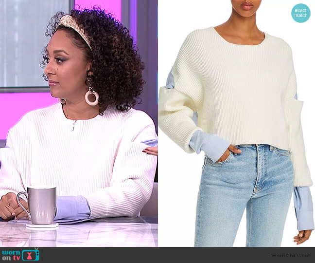 Layered-Look Cutout Combo Top by T by Alexander Wang worn by Tamera Mowry  on The Real