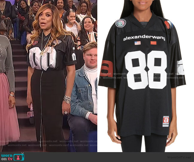 Logo Jersey Top by Alexander Wang worn by Wendy Williams  on The Wendy Williams Show
