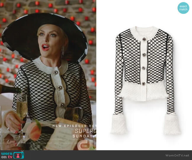 Tweed Fishnet Jacket by Alexander Wang worn by Alexis Carrington (Elaine Hendrix) on Dynasty