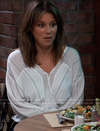 Alexis's striped crossover blouse on General Hospital