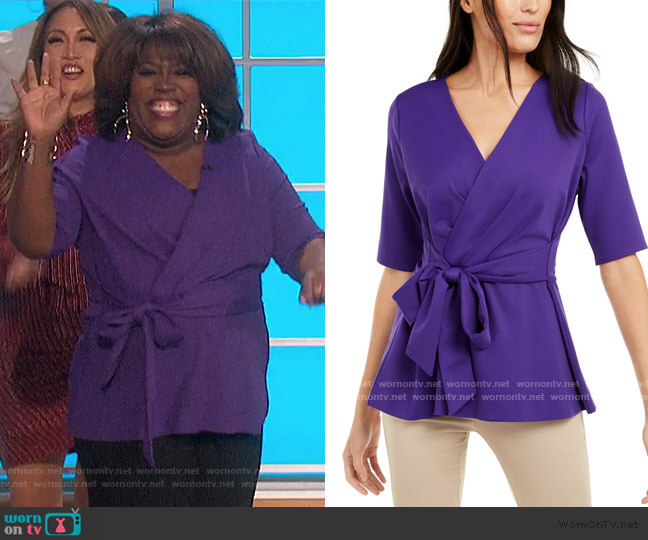 Petite Faux-Wrap Elbow-Sleeve Top by Alfani worn by Sheryl Underwood  on The Talk