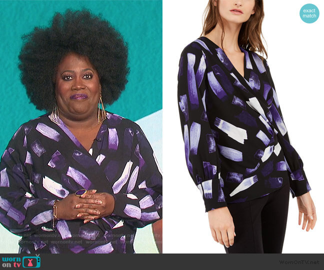 Printed Surplice Top by Alfani worn by Sheryl Underwood  on The Talk