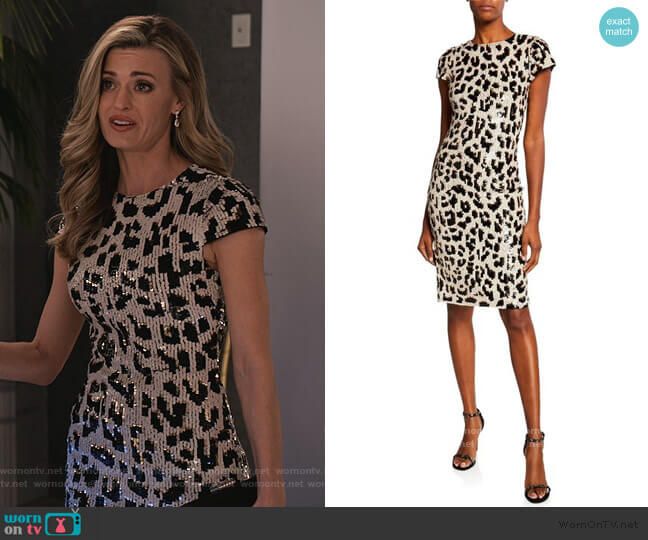 Nat Embellished Short-Sleeve Dress by Alice + Olivia worn by Brooke D'Orsay on Grace and Frankie
