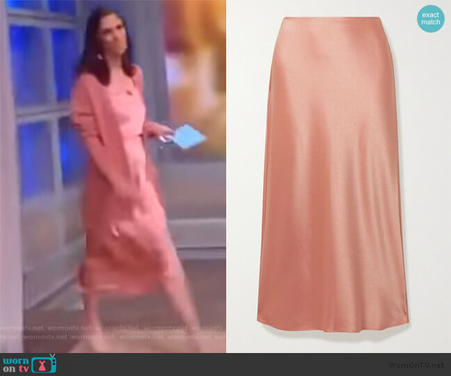 Athena Satin Midi Skirt by Alice + Olivia worn by Abby Huntsman  on The View