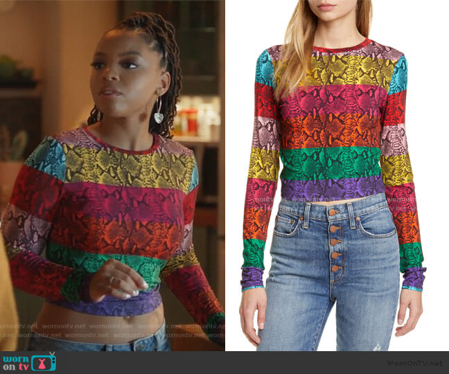 Delaina Stripe Crop Top by Alice + Olivia worn by Jazlyn Forster (Chloe Bailey) on Grown-ish