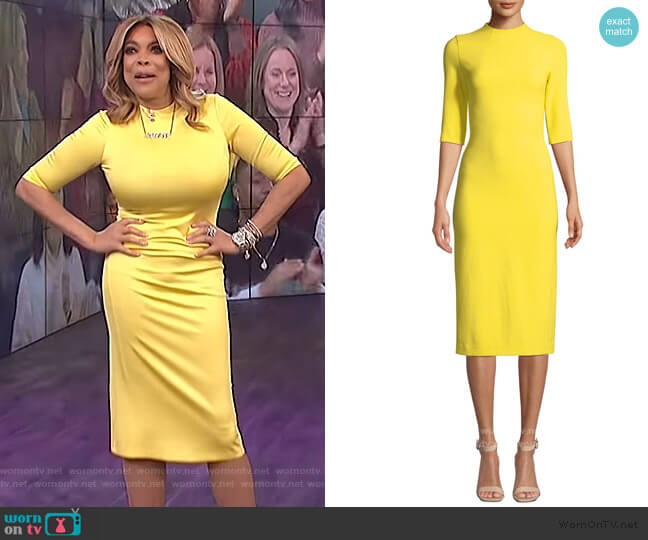 Delora Fitted Mock-Neck Midi Dress by Alice + Olivia worn by Wendy Williams  on The Wendy Williams Show