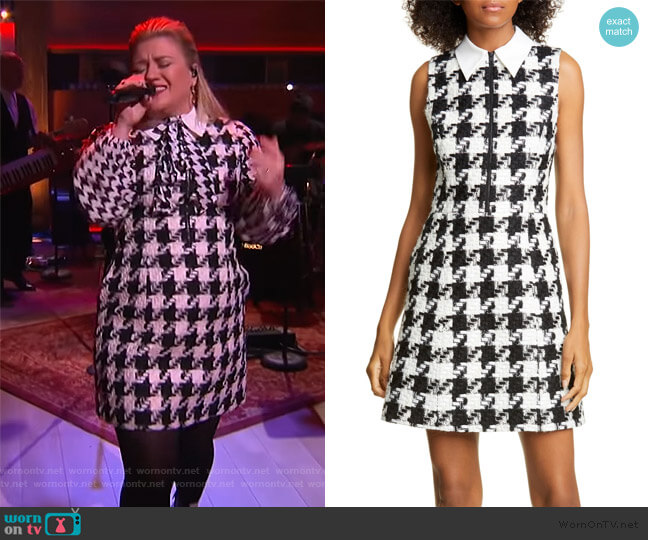 Ellis Houndstooth Zip Front Sleeveless Dress by Alice + Olivia worn by Kelly Clarkson  on The Kelly Clarkson Show