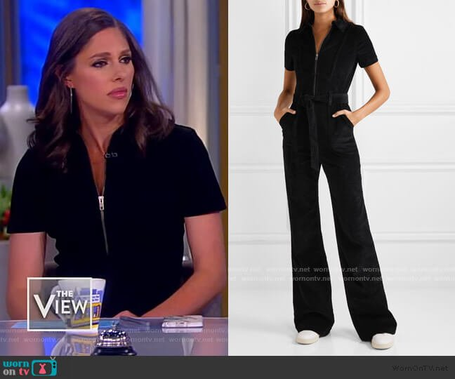 Gorgeous belted cotton-blend corduroy jumpsuit by Alice + Olivia worn by Abby Huntsman  on The View