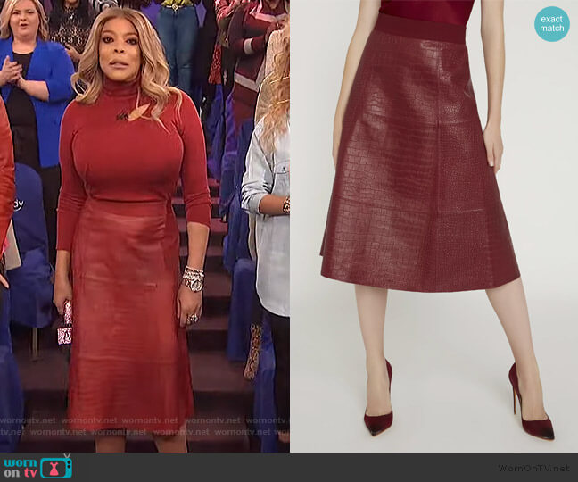 Sosie Croc Leather Midi Skirt by Alice + Olivia worn by Wendy Williams  on The Wendy Williams Show