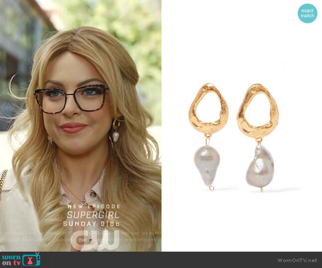 The Infernal Storm Gold-Plated Pearl Earrings by Alighieri  worn by Fallon Carrington (Elizabeth Gillies) on Dynasty