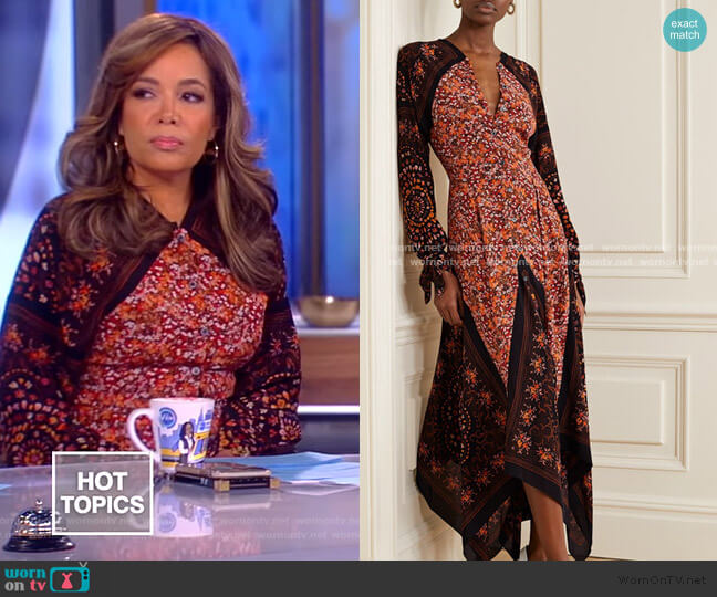 Northwest paneled floral-print silk crepe de chine dress by Altuzarra worn by Sunny Hostin  on The View