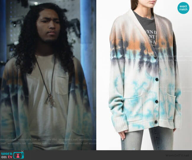 Tie Dye Cardigan by Amiri worn by Jahking Guillory on Black Lightning