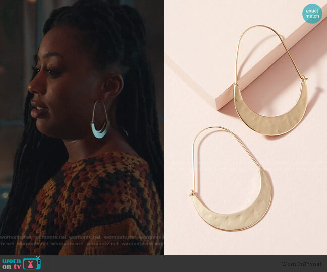 Crescent Hoops by Anthropologie worn by Malika Williams (Zuri Adele) on Good Trouble