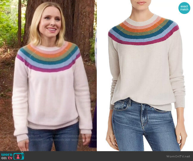 Aqua Rainbow-Stripe Cashmere Sweater worn by Eleanor Shellstrop (Kristen Bell) on The Good Place