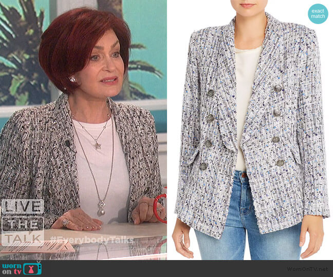 Tweed Double-Breasted Blazer by Aqua worn by Sharon Osbourne  on The Talk