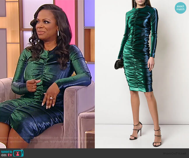Metallic Ruched Dress by Area worn by Kandi Burruss on the Tamron Hall Show