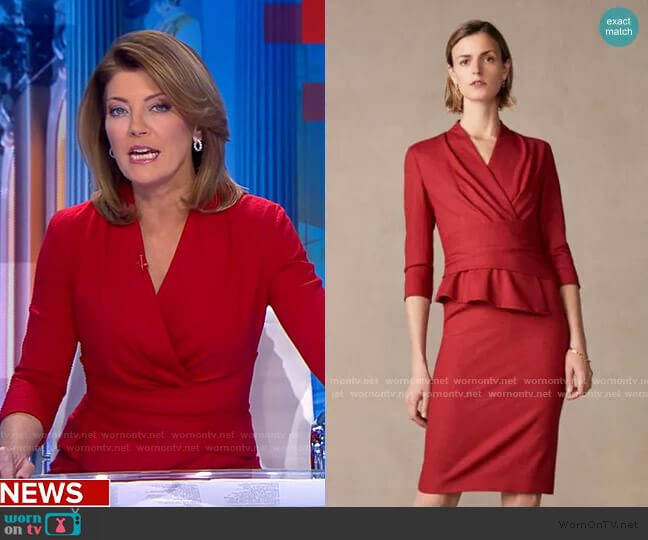 Arlington Dress by The Fold worn by Norah O'Donnell  on CBS Evening News