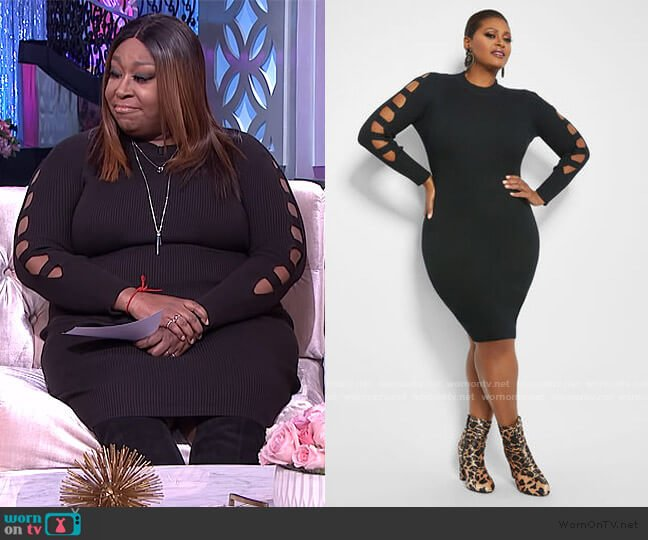 Cutout Sleedve Sweater Dress by Ashley Stewart worn by Loni Love  on The Real