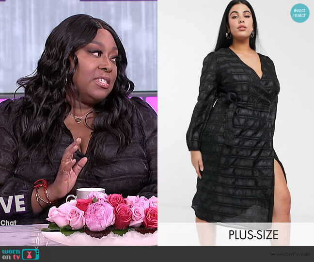 Glamorous Curve midaxi wrap dress with volume sleeves in organza check by ASOS worn by Loni Love  on The Real