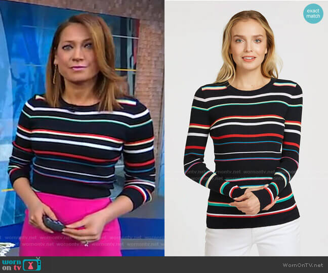 Multi Stripe Rainbow Sweater by Autumn Cashmere worn by Ginger Zee  on Good Morning America