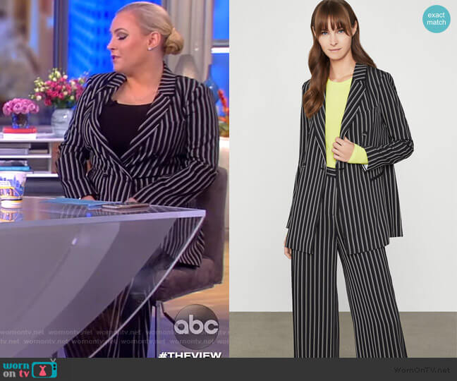 Striped Double-Breasted Blazer and Pants by BCBGMAXAZRIA worn by Meghan McCain  on The View