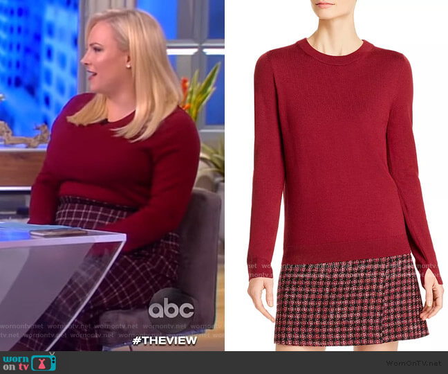 Fegan Wool Crewneck Sweater by BOSS worn by Meghan McCain  on The View