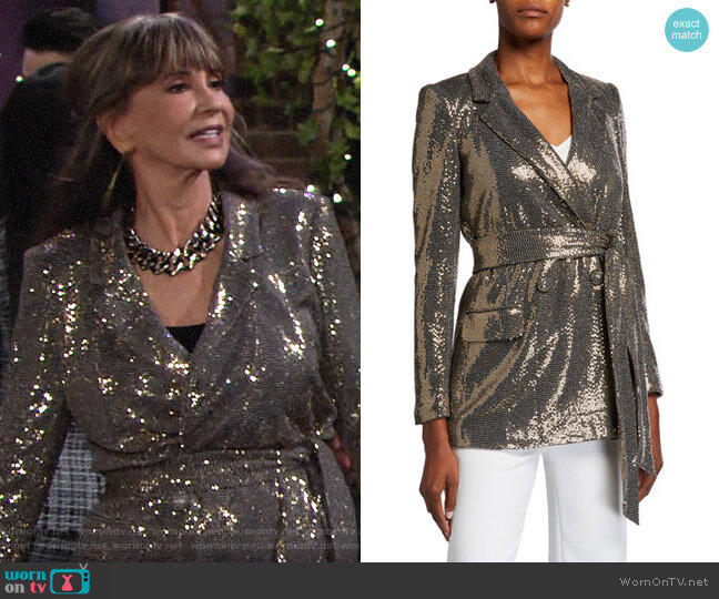 Badgley Mischka Sequin Long-Sleeve Belted Smoking Jacket worn by Jill Abbott (Jess Walton) on The Young & the Restless