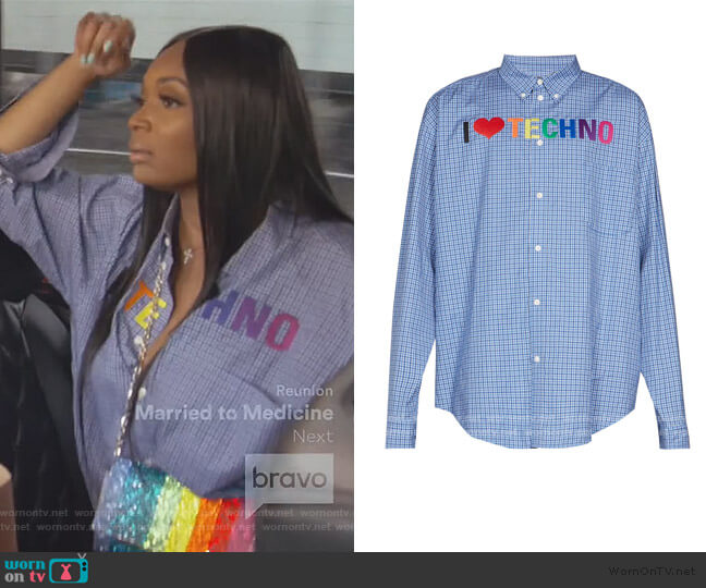 Embroidered Checked Shirt by Balenciaga worn by Marlo Hampton on The Real Housewives of Atlanta