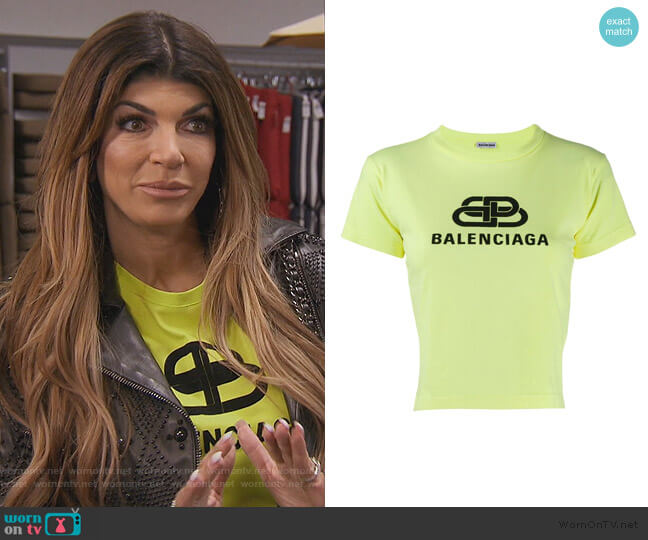 Cropped Logo T-shirt by Balenciaga worn by Teresa Giudice  on The Real Housewives of New Jersey
