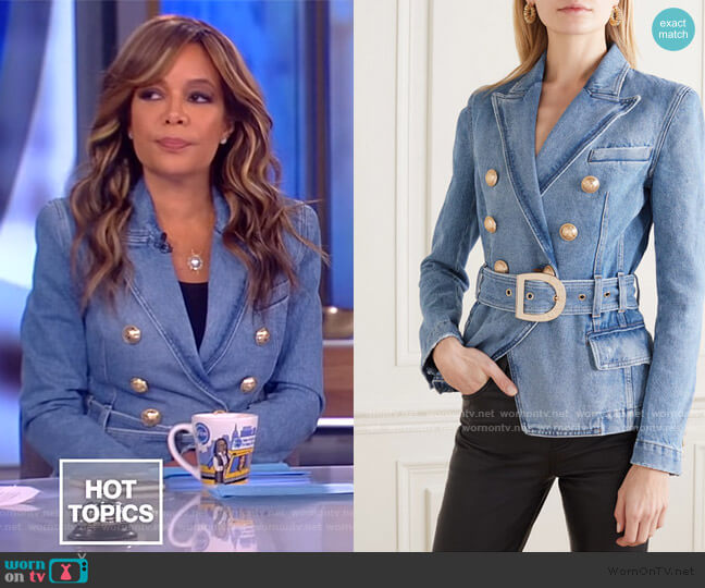 Double-breasted Belted Denim Blazer by Balmain worn by Sunny Hostin  on The View