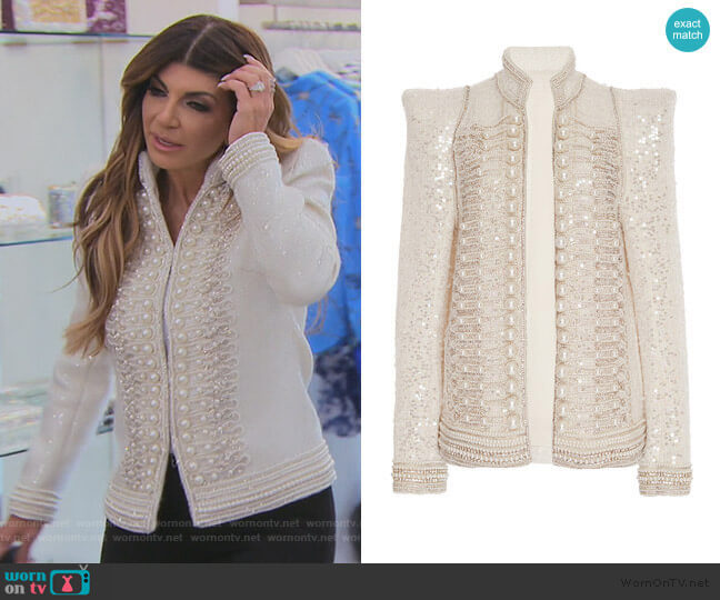 Pearl Embroidered Sequin Jacket by Balmain worn by Teresa Giudice  on The Real Housewives of New Jersey