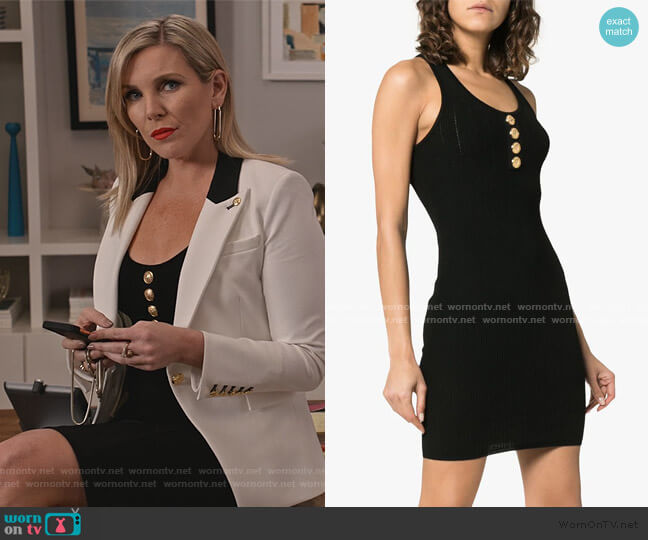 Sleeveless Button Detail Knit Mini Dress by Balmain worn by Brianna (June Raphael) on Grace & Frankie