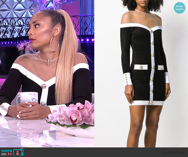 Off-the-shoulder Mini Dress by Balmain worn by Amanda Seales  on The Real