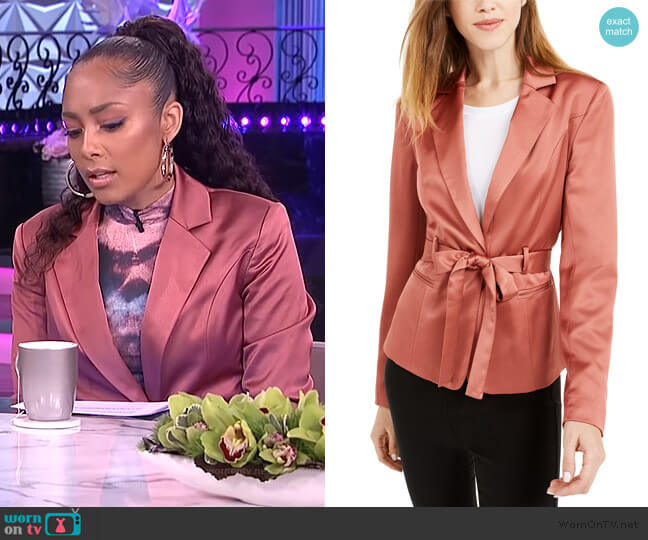 Belted Satin Blazer by Bar lll worn by Amanda Seales  on The Real