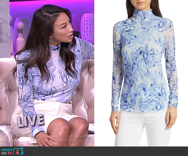 Romance & Rituals Jodi Marble-Print Turtleneck Top by Baum und Pferdgarten worn by Jeannie Mai  on The Real