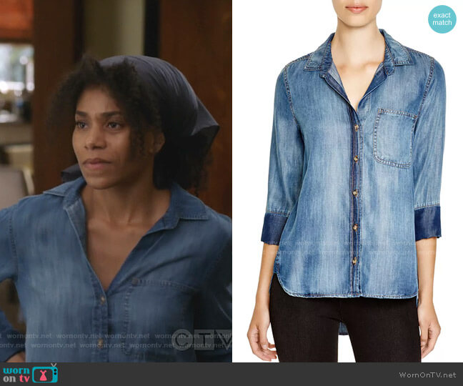 Chambray Button-Down Shirt by Bella Dahl worn by Maggie Pierce (Kelly McCreary) on Greys Anatomy