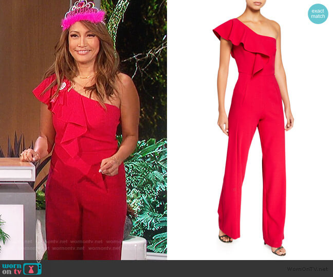 Kallan One-Shoulder Wide-Leg Jumpsuit by Black Halo worn by Carrie Inaba  on The Talk