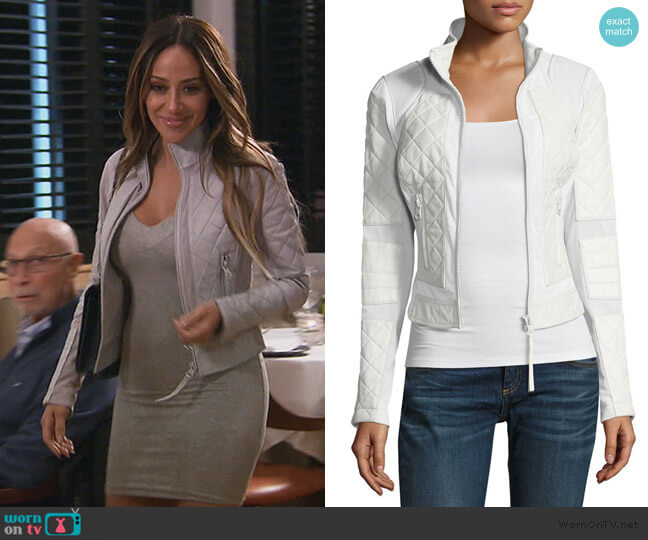 Quilted Leather & Mesh Moto Jacket by Blanc Noir worn by Melissa Gorga  on The Real Housewives of New Jersey
